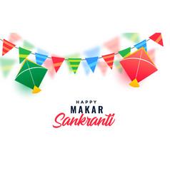 Makar sankranti celebration with colorful kites vector