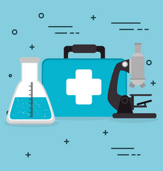 Medical kit with medical healthcare icons vector
