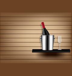 mock up realistic wine bottle ice bucket vector image