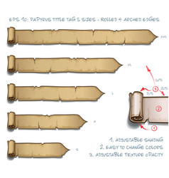 papyrus tittle tag five sizes - rolled and arched vector image