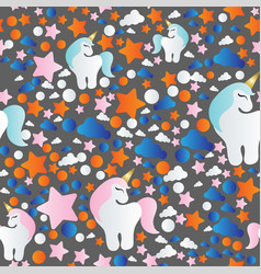 Pattern with cartoon unicorn clouds and stars vector