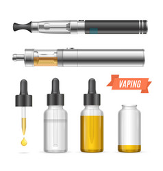 Realistic vaping vaporizer liquid set vector