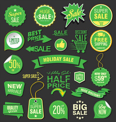sale stickers and tags green collection 1 vector image