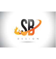 Sb s b letter logo with fire flames design and vector