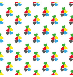 seamless pattern with hearts fresh colors on a vector image