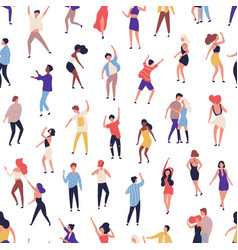 seamless pattern with tiny people dancing on dance vector image