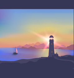 seascape with a lighthouse vector image