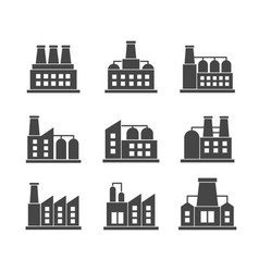 set factories related icons industrial vector image