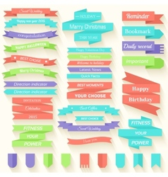 Set of colored ribbons sticker background concept vector image