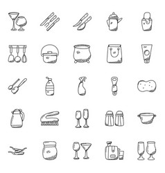 Set of kitchen utensils doodles vector