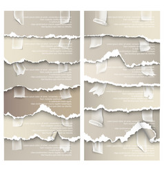 Set of torn paper with adhesive tape vector