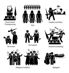 Social issues world problems pictograph icons vector