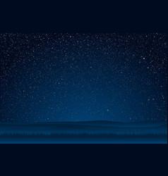 Starry sky with blue glow shining stars dark sky vector