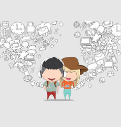 teenage girl and boy wearing hat playing with vector image