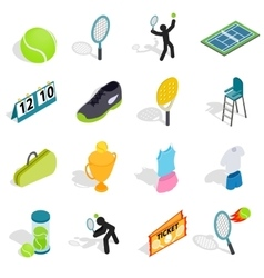 Tennis icons set in isometric 3d style vector image