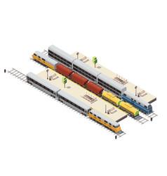 train railway isometric composition vector image