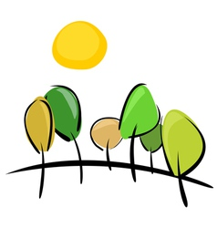 Trees on hill at sunny day vector