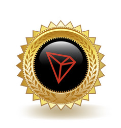 Tron cryptocurrency coin gold badge vector