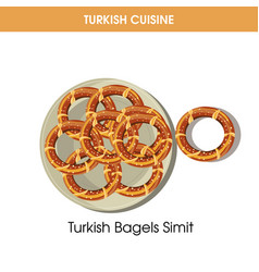 Turkish bagels simit on plate from traditional vector