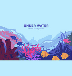 underwater world with coral reef and fishes vector image