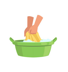 Washing clothes in green basin by hands cleaning vector