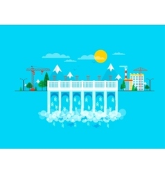 Water dam in flat style vector