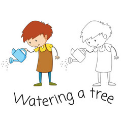 watering doodle graphic style vector image