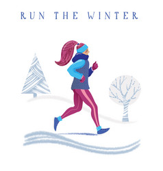 winter running banner young woman jogging in park vector image