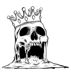 with skull in crown isolated vector image