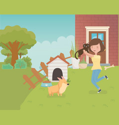 woman with cute little cat and dog in house vector image