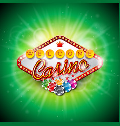 casino with color playing chips and vector image vector image