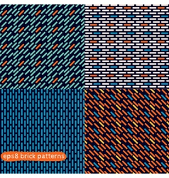Four simple abstract seamless brick patterns vector image