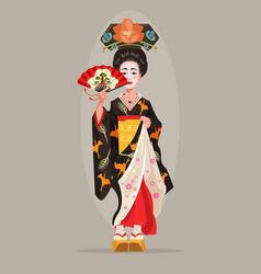 japanese beautiful geisha character hold fan vector image vector image