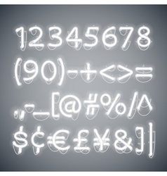 White Glowing Neon Numbers vector image vector image