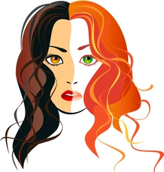 a girl blondes and brunettes in one person vector image vector image