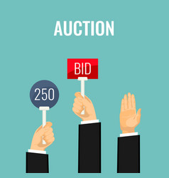 auction with hands holding paddles number and bid vector image vector image