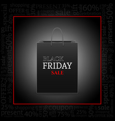 black friday advertising poster with shopping bag vector image