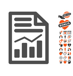 charts page icon with love bonus vector image vector image