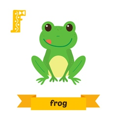 Frog F letter Cute children animal alphabet in vector image
