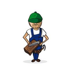 Profession carpenter man cartoon figure vector image vector image