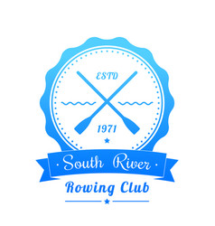 rowing club logo emblem sign on white vector image