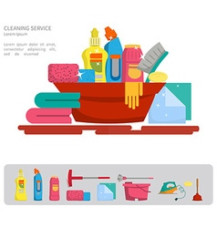 Set of objects for cleaning the house vector image