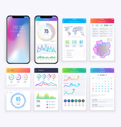 smartphone ui set with data business graphs for vector image