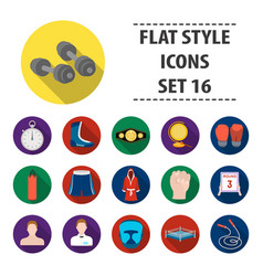boxing set icons in flat style big collection of vector image