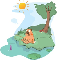 Cat the fisherman vector image vector image