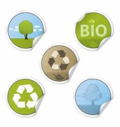 ecology stickers vector image vector image