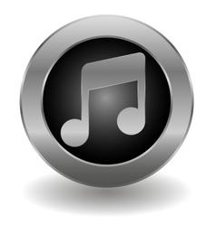 Metallic note button vector image