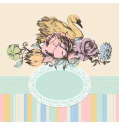 Vintage background flowers and swan frame retro vector image vector image