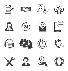 Black And White Customer Support Icon Set vector image vector image