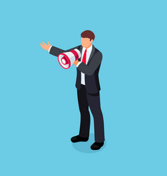 isometric businessman with loudspeaker in hand vector image vector image